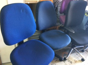 Warehouse Chairs Frayed Seats/ Small holes in fabric etc